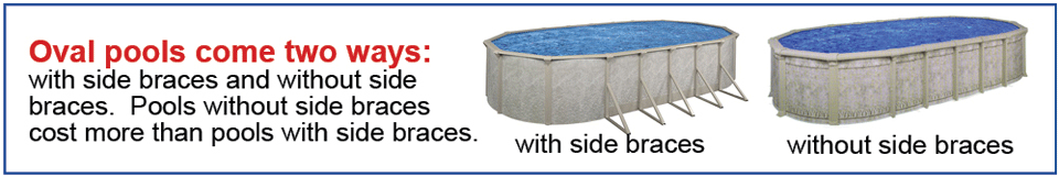 Oval Pools Come Two Ways with side braces and without side braces